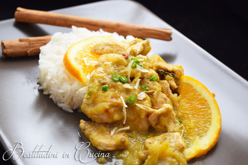pollo al curry e arancia