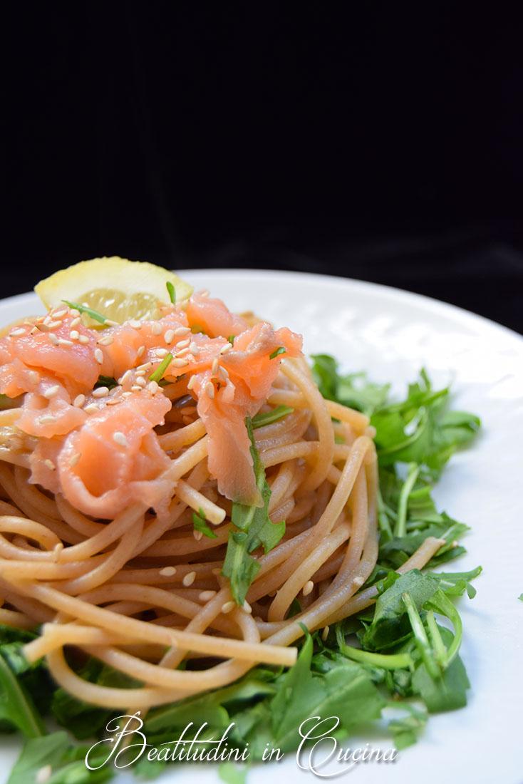 Spaghetti salmone e rucola
