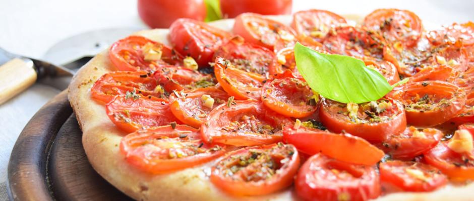 Pizza pomodorini e basilico