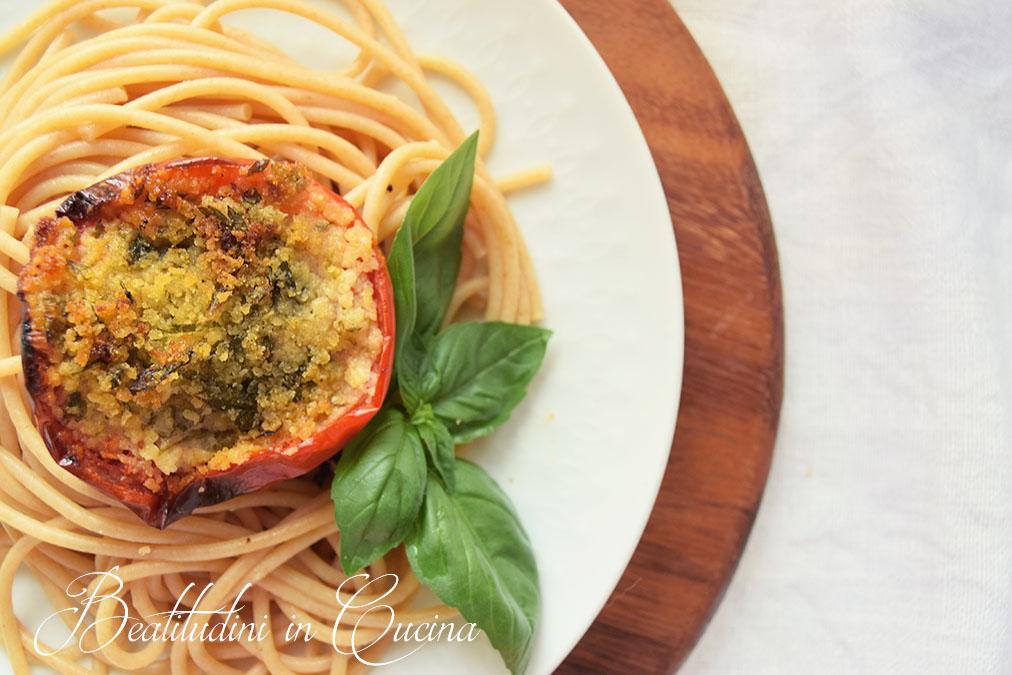 Spaghetti con pomodori gratinati2