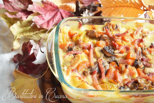 Lasagne zucca, porri e porcini