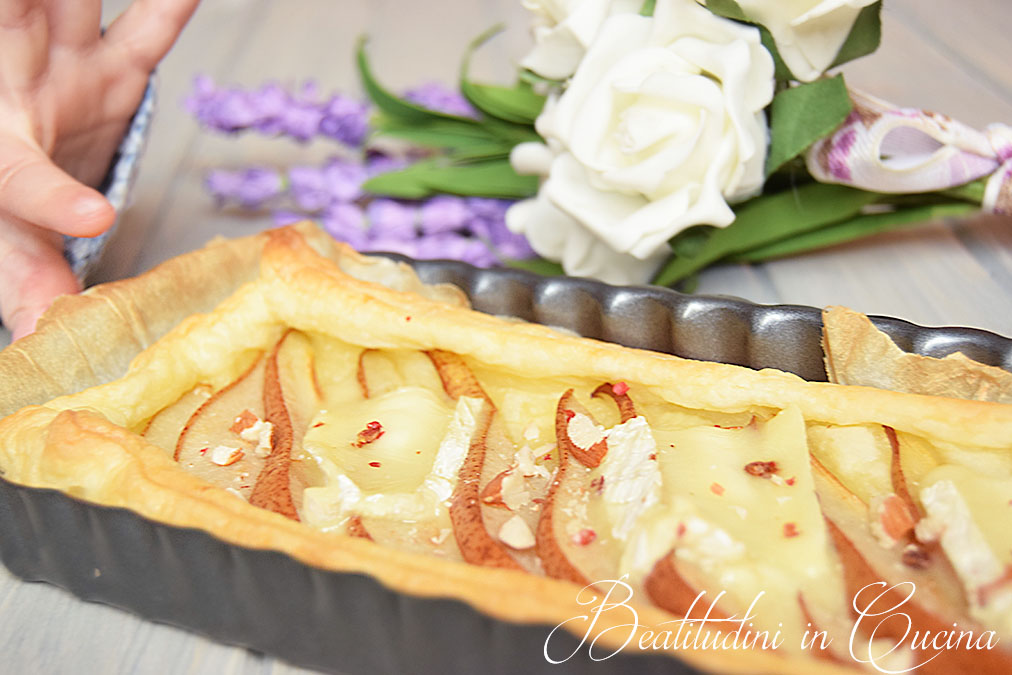 Torta salata pere e camembert