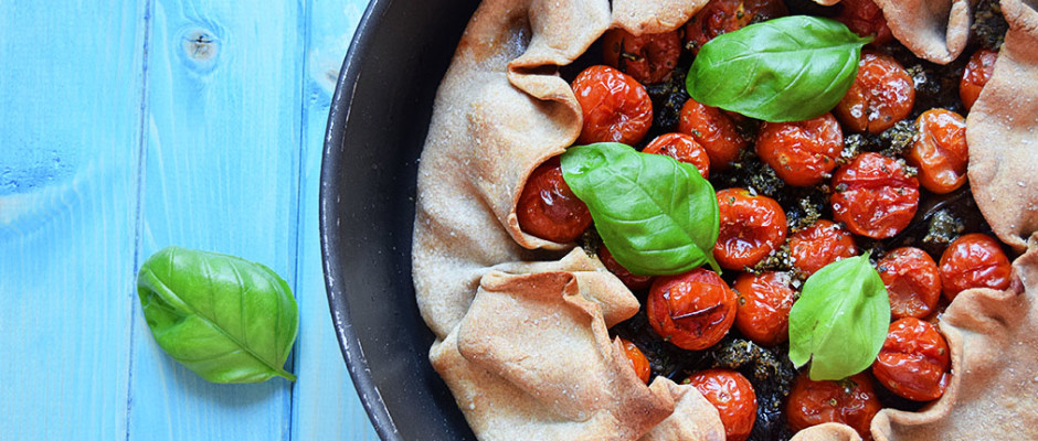 Galette pomodorini, melanzane e pesto