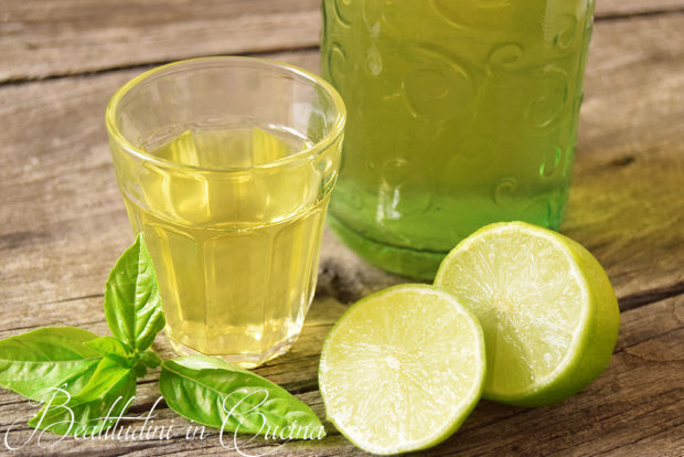 Liquore al basilico e lime