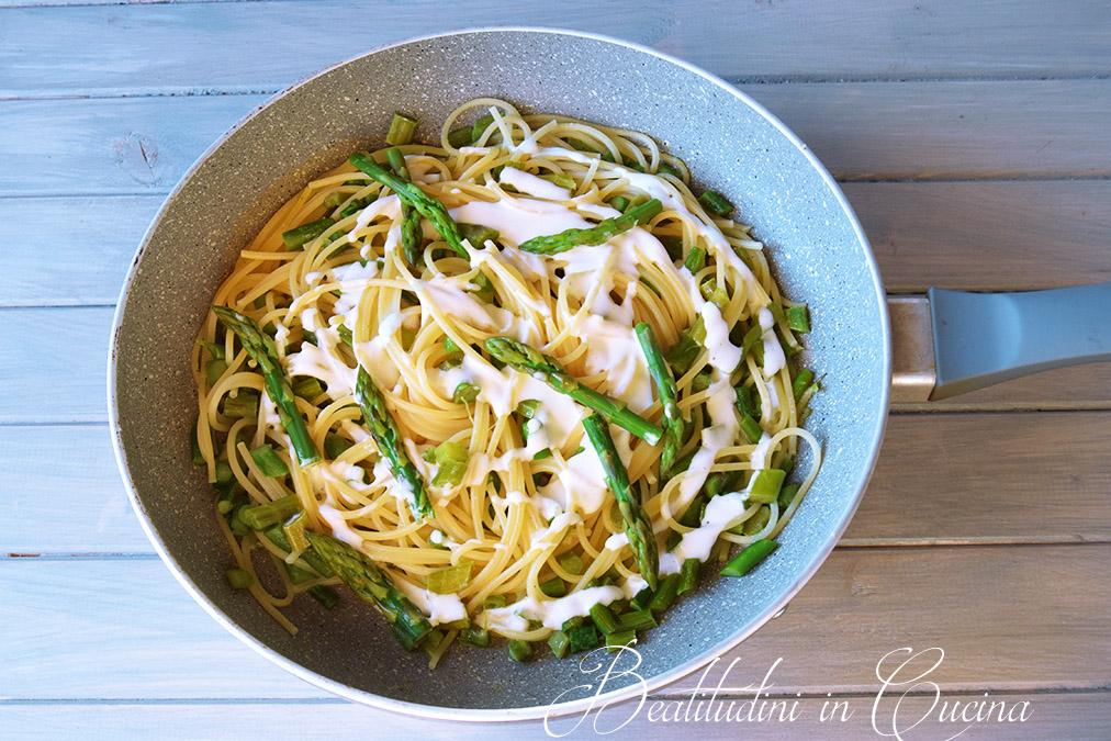 Spaghetti asparagi e burrata al tartufo