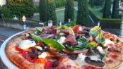 Pizza funghi, caprino e speck