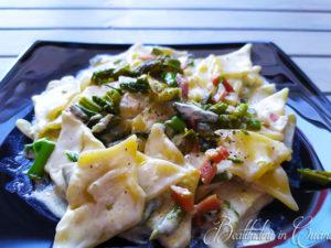 Pasta asparagi e speck croccante