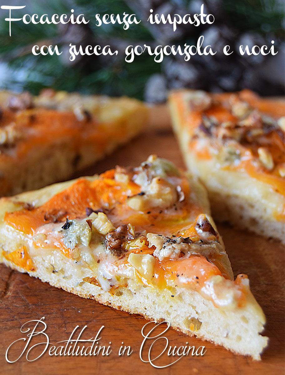 Focaccia senza impasto con zucca, gorgonzola e noci